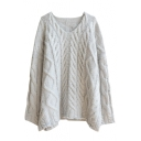Plain Round Neck Batwing Sleeve Cable Loose Sweater
