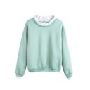 Plain Ruffle Hem Collar Round Neck Long Sleeve Sweatershirt