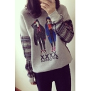 Cartoon Girls Plaid Insert Long Sleeve Round Neck Sweatshirt
