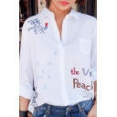 Cute Cartoon Embroidery Lapel Single Breasted Long Sleeve Shirt