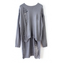 Plain Ripped Round Neck Long Sleeve High Low Sweater