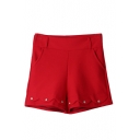 Plain High Waist Elastic Button Detail Wide Leg Shorts