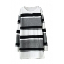 Round Neck Long Sleeve Stripe Tunic Sweater