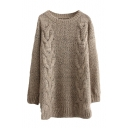 Round Neck Long Sleeve Cable Longline Sweater