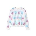 Ice-Cream Print Round Neck Long Sleeve Cropped Sweatshirt