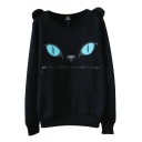 Kitty Face Print Zip Mouth Round Neck Long Sleeve Sweatshirt