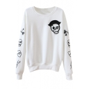 Skull Print Round Collar Long Sleeve Sweatshirt