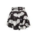 Bat Print Elastic Waist Flared Mini Skirt