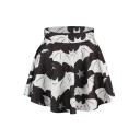 Bat Print Elastic Waist Flared Mini Skirt