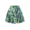 Green Abstract Print Elastic Waist Mini Flared Skirt