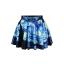 Starry Night Print Elastic Waist Mini Flared Skirt