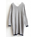 Scoop Neck Long Sleeve Longline Sweater