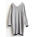 Scoop Neck Long Sleeve Longline Sweater