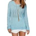 Light Blue Round Neck Open Back Long Sleeve Sweater