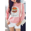 Hamburger Print Hooded Long Sleeve Sweatshirt