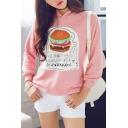 Hamburger Print Hooded Long Sleeve Sweatshirt