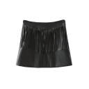 Plain Black Zipper Side PU Tassel A-Line Mini Skirt