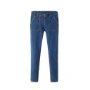 Plain Blue Zipper Fly Double Button Pockets Skinny Jeans