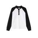 Color Block Stand Collar Long Sleeve Sweatshirt