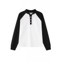 Color Block Stand Collar Long Sleeve Sweatshirt