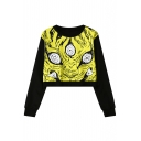 Abstract Print Round Neck Long Sleeve Cropped Sweatshirt