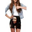 3D Character Print Elastic Waist Mini Wrap Skirt