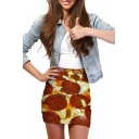 3D Pizza Print Elastic Waist Mini Wrap Skirt