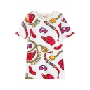 Lady Accessories Print Round Neck Short Sleeve T-Shirt