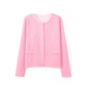 Pink Round Neck Long Sleeve Hidden Button Cardigan