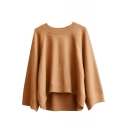 Plain Round Neck Long Sleeve High Low Loose Sweater