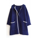 Lapel Long Sleeve Double Pocket Hidden Button Longline Cardigan