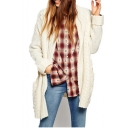 Plain Open Front Stand Collar Long Sleeve Double Pocket Cardigan