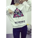 Triangle and Eye Print Round Neck Long Sleeve Sweatshirt