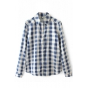 Classic Plaid Lapel Long Sleeve Single-Breasted Shirt