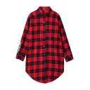 Plaid Letter Print Long Sleeve Single-Breasted Boyfriend Shirt
