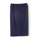 Plain Elastic Waist Tube Midi Knit Skirt