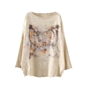 Owl Print Scoop Neck Long Sleeve Sweater