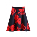 Romantic Rose Print Zipper Back Flared A-Line Skirt