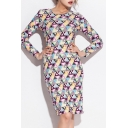 Colorful Geometric Print Round Neck Long Sleeve Bodycon Dress