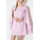 Pink Round Neck Split Sleeve Smock Dress