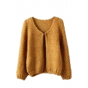 V-Neck Single Button Knit Long Sleeve Plain Cardigan