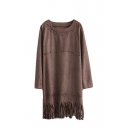 Khaki Round Neck Beaded Hollow Long Sleeve Tassel Hem Suede Shift Dress