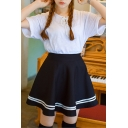 Plain Stripe Hem Elastic Waist Flared Mini Skirt