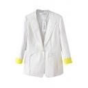 Lapel Button Front Color Block Long Sleeve Blazer