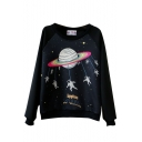 Cartoon Planet and Astronauts Print Round Neck Long Sleeve Sweatshirt