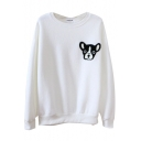 Lovely Cartoon Dog Head Embroidery Round Neck Long Sleeve Sweatshirt