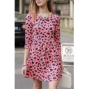 Floral Print 3/4 Length Sleeve Round Neck A-Line Dress