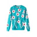 Green Background Flowers Pattern Round Neck Long Sleeve Sweatshirt