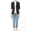 Plain Lapel Long Sleeve Single Button Blazer