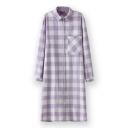 Plaid Lapel Single-Breasted Pocket Long Sleeve Shirt Dress